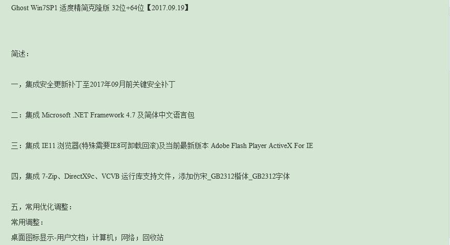 twm000 Ghost Win7SP1 适度精简克隆版 32位+64位【2017.09.19】